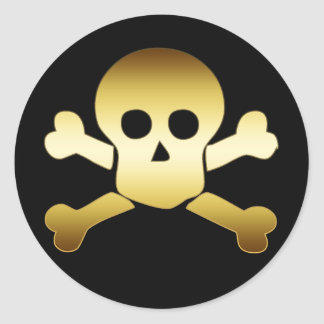 GOLD SKULL & CROSSBONES ROUND STICKER