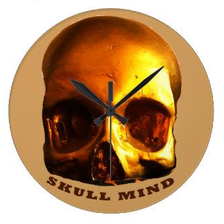 Gold Skull Mind Tan Large Clock