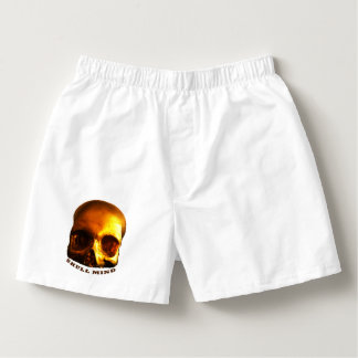 Gold Skull Mind White Boxers Cotton