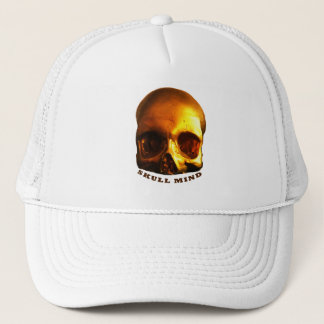 Gold Skull Mind White Trucker Hat