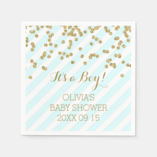 Gold Sky Blue Confetti Stripes Baby Shower Paper Napkins