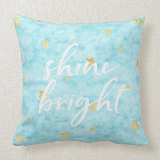 Gold Sky Blue Stars Watercolor Shine Bright Throw Pillow