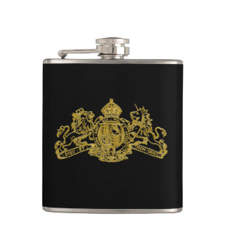 Gold Slate Special Agent Issue U.K. Coat of Arms Hip Flask