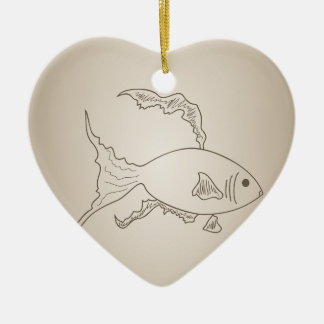 Gold small fish ceramic ornament