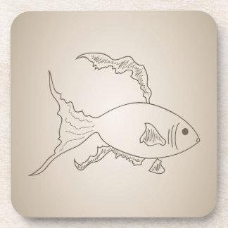 Gold small fish coaster