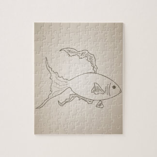 Gold small fish jigsaw puzzle