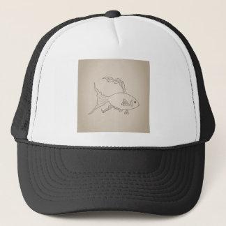 Gold small fish trucker hat