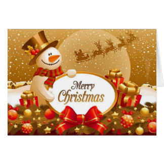 Gold Snow Christmas Greeting Card