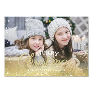 Gold Snow Sparkle Merry Christmas Card