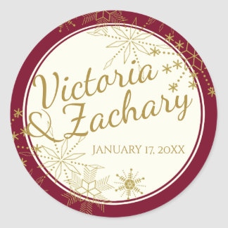 Gold Snowflake and Ivory Classic Round Sticker