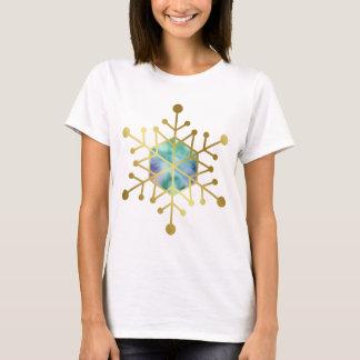 Gold Snowflake Blue Purple Mint Green Christmas T-Shirt