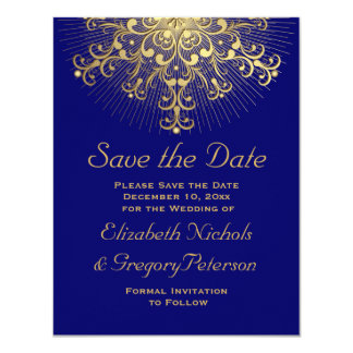 Gold snowflake blue winter wedding Save the Date Card