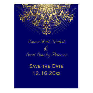 Gold snowflake blue winter wedding Save the Date Postcard