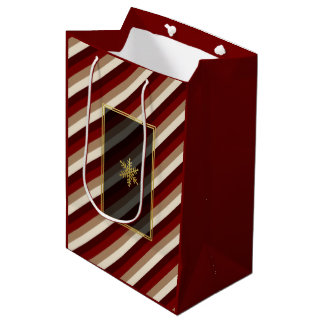 Gold Snowflake Cherry Mocha Striped Gift Bag