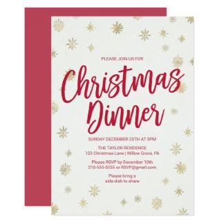 Gold Snowflake Christmas Dinner Card