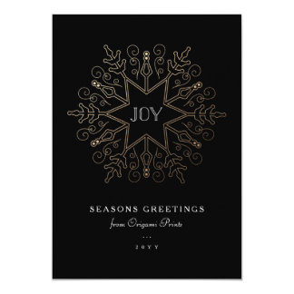Gold Snowflake Corporate Holiday Card
