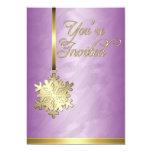 Gold Snowflake Decoration Pink Foil Invitation