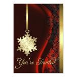 Gold Snowflake Decoration Red Silk Invitation