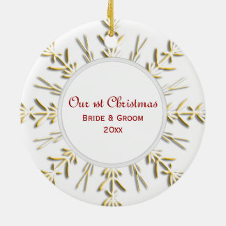 Gold Snowflake First Christmas Photo Ceramic Ornament