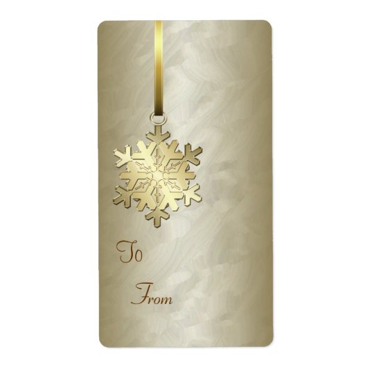 Gold Snowflake Gold Foil Gift Tag Label