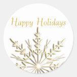 Gold Snowflake Happy Holidays Envelope Seals Round Stickers