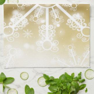Gold Snowflake Kitchen Towel
