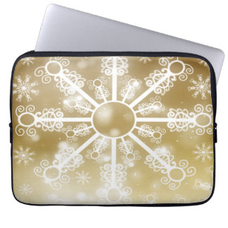 Gold Snowflake Laptop Sleeve