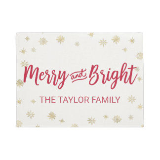 Gold Snowflake Merry and Bright Christmas Doormat