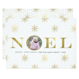 Gold Snowflake Noel Christmas Photo Cards
