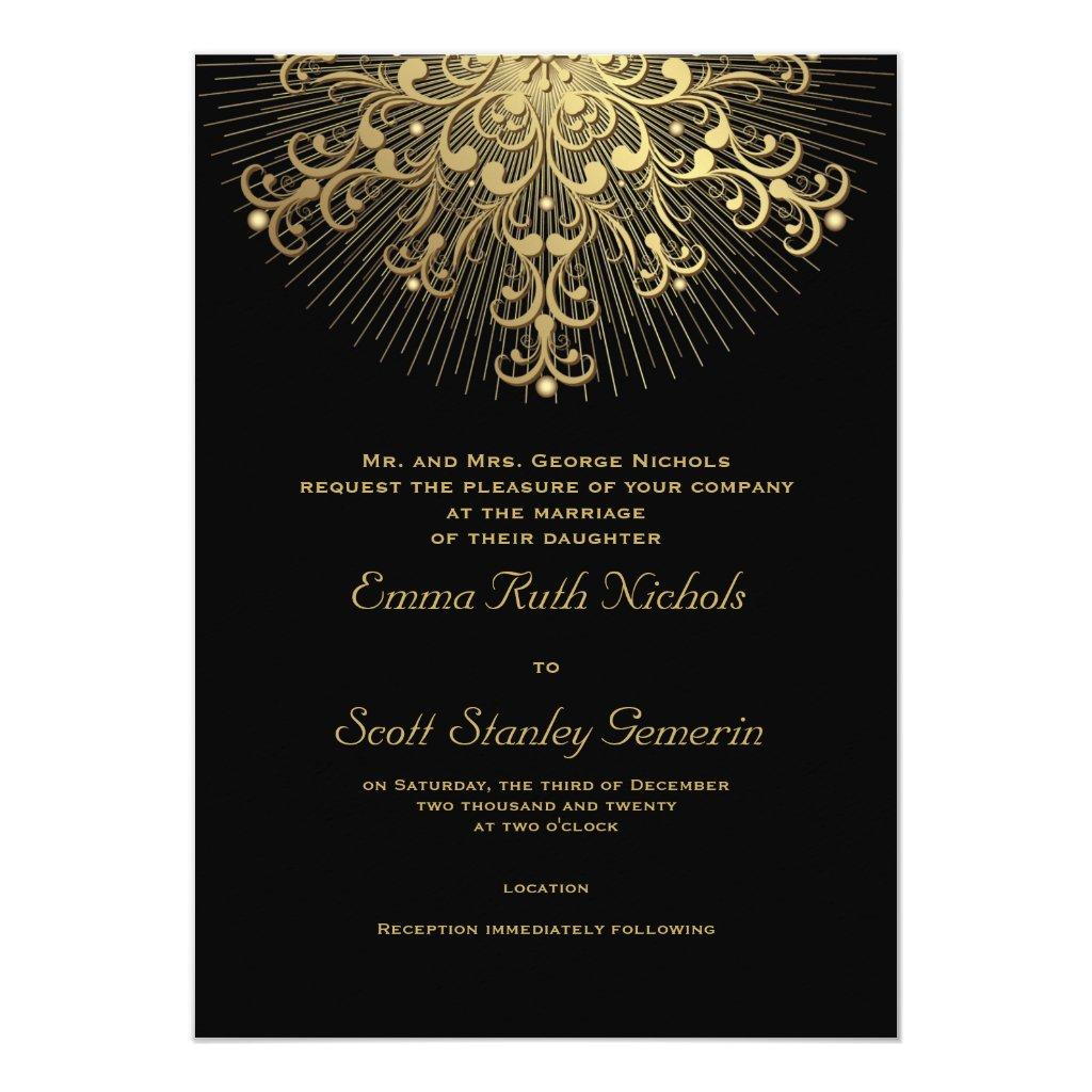 Gold snowflake on black elegant  winter wedding card