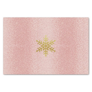 Gold Snowflake on pink textured Tissue Tissue Paper
