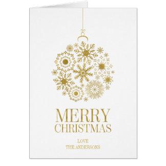 Gold Snowflake Ornament Christmas Greeting Card