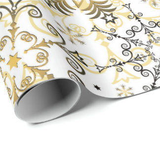 Gold snowflake pattern wrapping paper