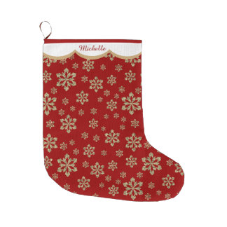 Gold Snowflake Personalized Large Christmas Stocking