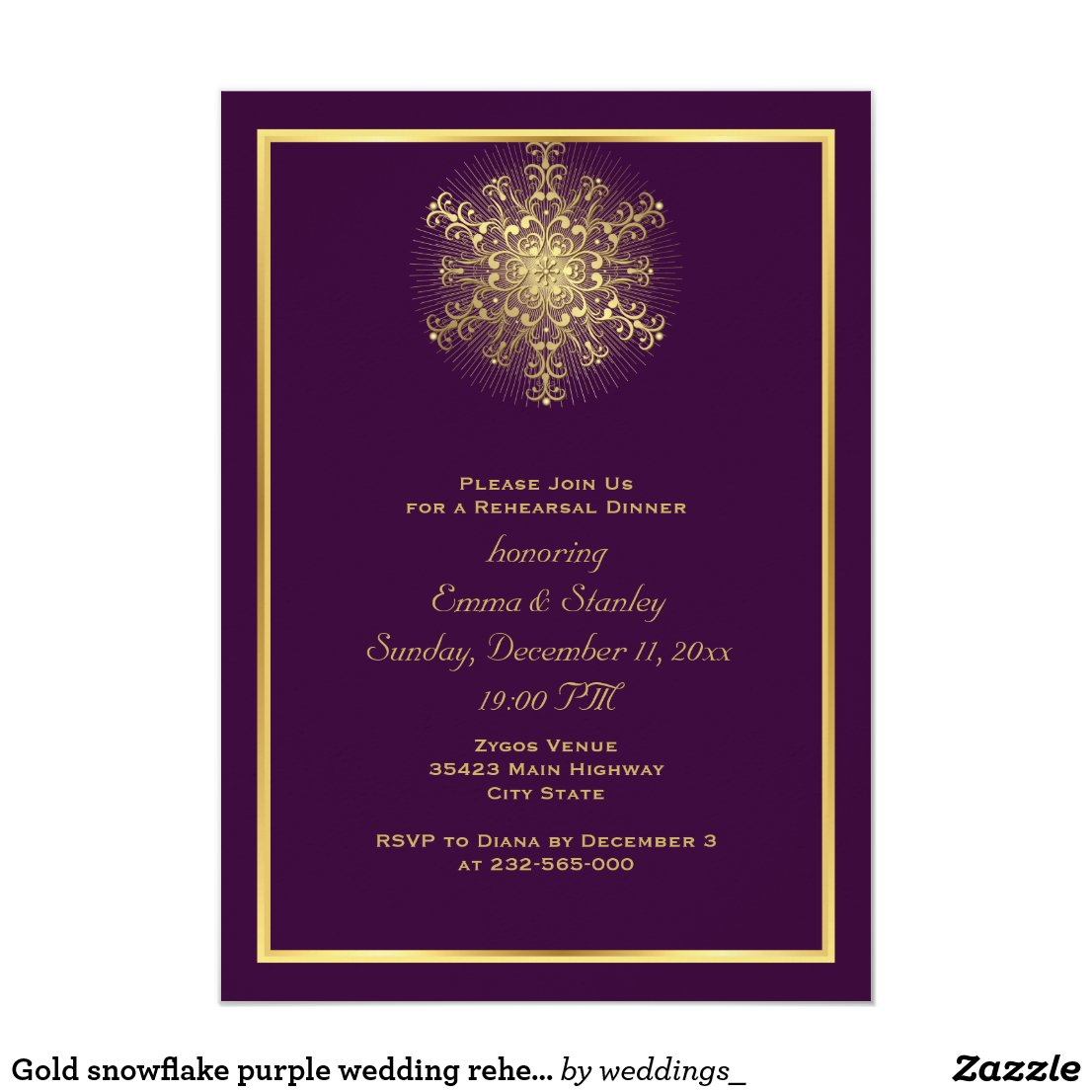 Gold snowflake purple wedding rehearsal dinner card