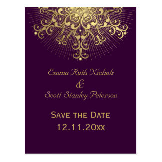 Gold snowflake purple winter wedding Save the Date Postcard
