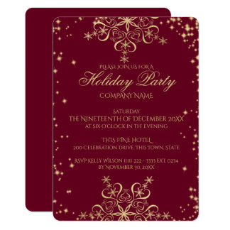 Gold Snowflake Sparkle Corporate Holiday Party Card