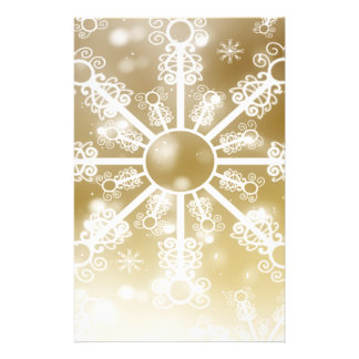 Gold Snowflake Stationery