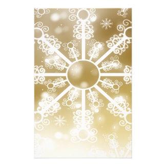 Gold Snowflake Stationery