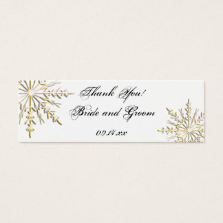 Gold Snowflake Winter Wedding Favor Tags Mini Business Card