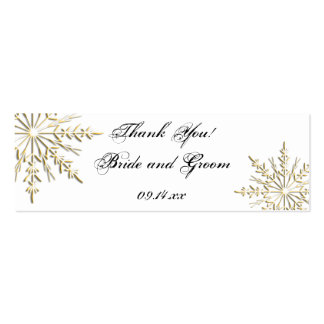 Gold Snowflake Winter Wedding Favor Tags Pack Of Skinny Business Cards