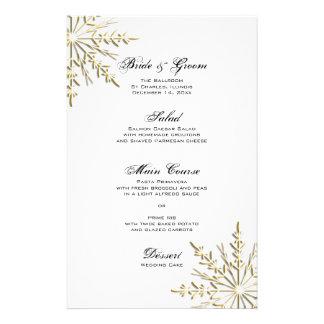 Gold Snowflake Winter Wedding Menu Stationery Paper