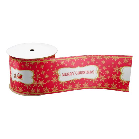 Gold Snowflakes and Merry Christmas Satin Ribbon
