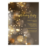 Gold Snowflakes & Bokeh Lights Holiday Invitation Announcements