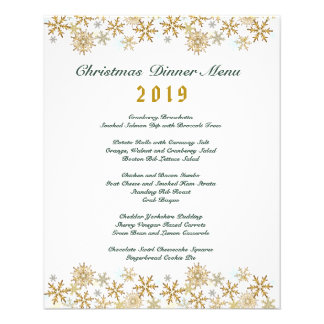 Gold Snowflakes Christmas Dinner Menu