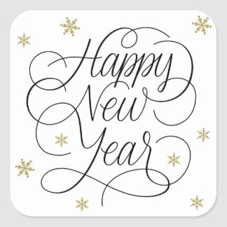 Gold Snowflakes | Happy New Year Sticker