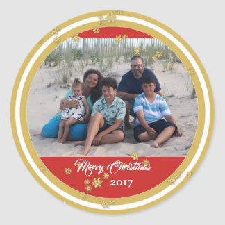 Gold Snowflakes Holiday Photo Classic Round Sticker