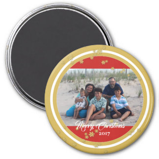 Gold Snowflakes Holiday Photo Magnet