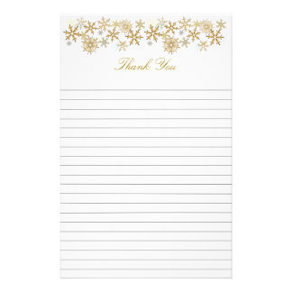 Gold Snowflakes Lined Christmas Thank You Paper Stationery Design
