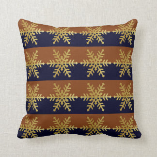 Gold Snowflakes Navy & Brown Stripe Holiday Pillow
